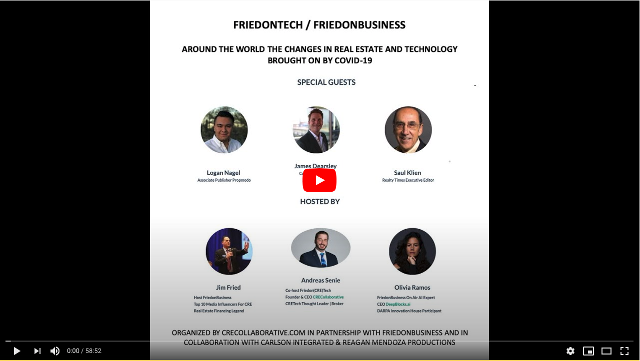 Fried on Tech: CRE Tech Evolution and AI with Michael Beckerman CRETECH, Andreas Senie, CRE Collaborative, Jim Fried FriedonBusiness August 1st 2019 Radioshow