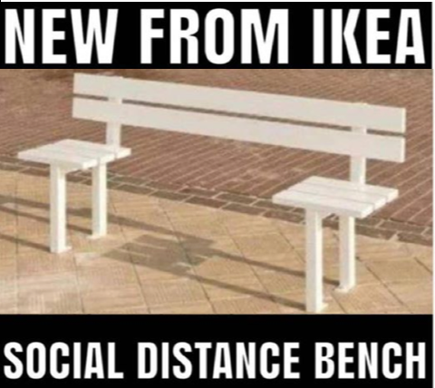 Humor - social distance bench