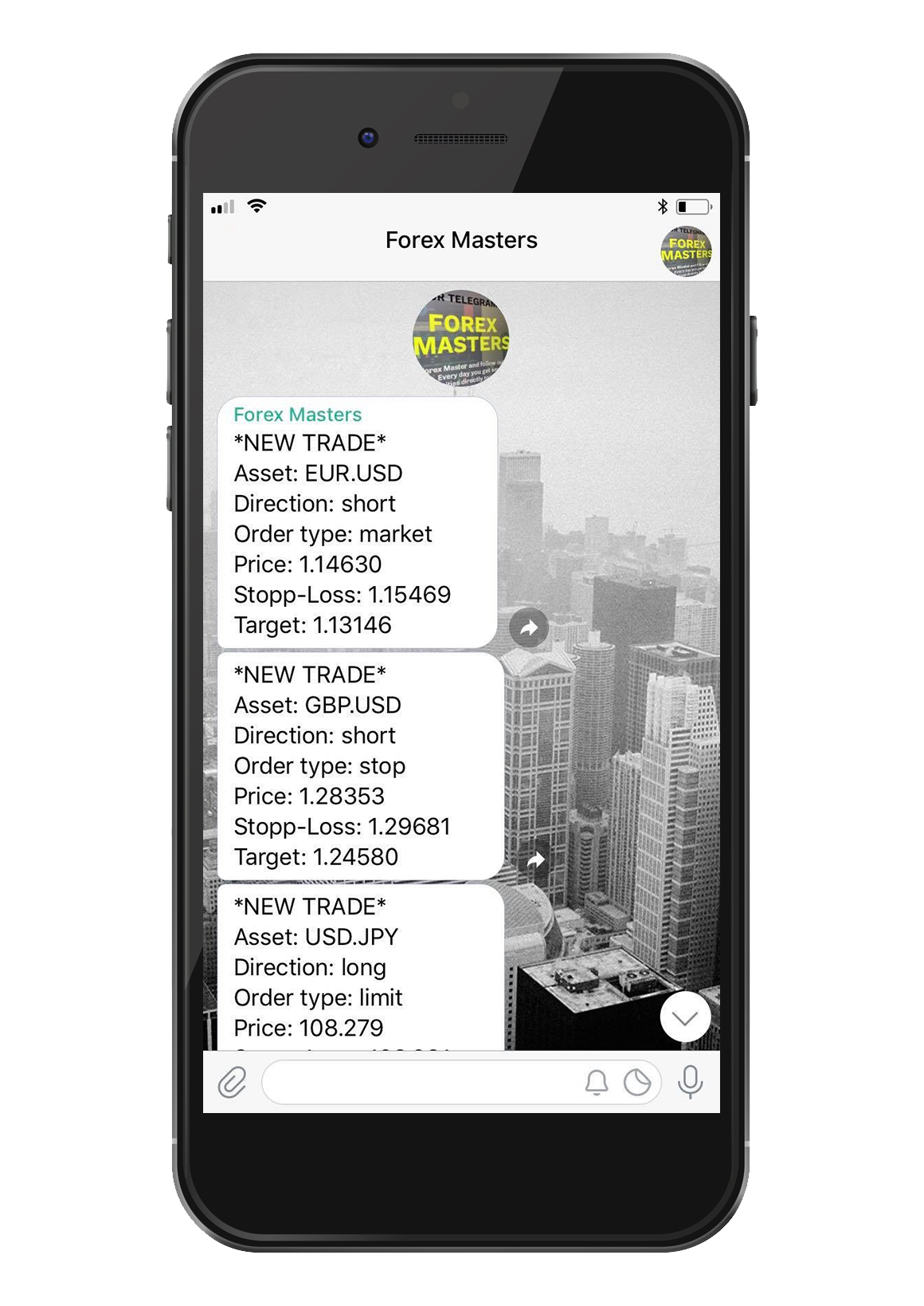ForexMasters Telegram channel with daily profitable trading signals